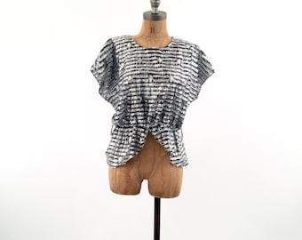 vintage METALLIC silver TEXTURED shimmer blouse S-M