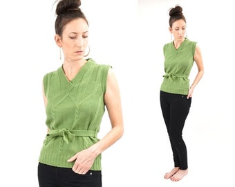vintage 70s MOSS green BELTED sleeveless sweater M
