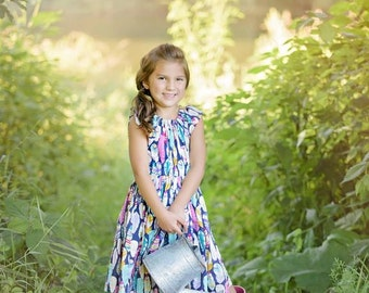 Girl's Fall Dress- Arrow Flight Peasant Dress-From the Fall 2016 Collection by Mellon Monkeys