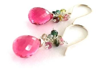 Pink Fuchsia Gemstone Earrings. Sterling Silver Bright Pink Quartz Teardrop Earrings. Valentines Day Earrings