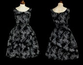Original Vintage 1950s Black Printed Taffeta Dress  - Medium - FREE SHIPPING WORLDWIDE