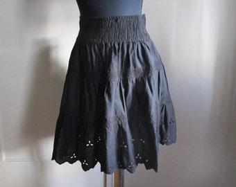 GAP Black Eyelet Circle Skirt