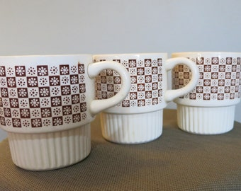 Set of Three Vintage Coffee Cups, Set of Three Brown and Cream  Vintage Coffee Mugs