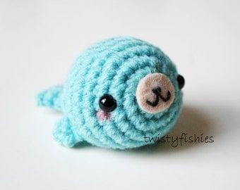 Blue Kawaii Seal -  Mini Amigurumi Plush
