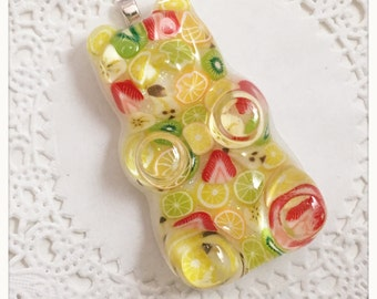 Fruit medley gummy bear necklace or keychain