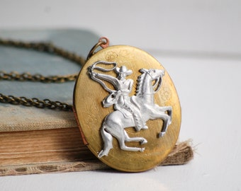Cowboy Locket Pendant, Silver Horse Necklace, Gift for Her, Horse Locket, Country Western, Equestrian, Rodeo Rider, Rope Rider Lasso