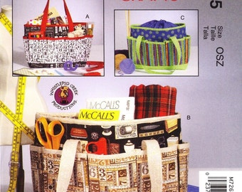 McCall's 7265 Pattern Totes, Craft project bag, Handbag, Organizer Uncut New