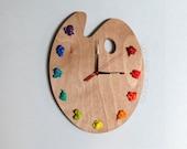 Artist Palette Clock, 3D Paint on Wood Pallet Pallette -  art studio decor, artist painter gift