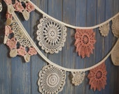 Vintage Doily Bunting. Wedding Bunting. A beautiful 3m strand made out of gorgeous crochet doilies.