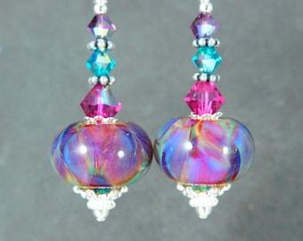 Purple Teal Blue Pink Glass Crystal Sterling Silver Dangle Earrings, Colorful Boho Chic Jewelry, Gypsy Earrings, Boro Lampwork Earrings