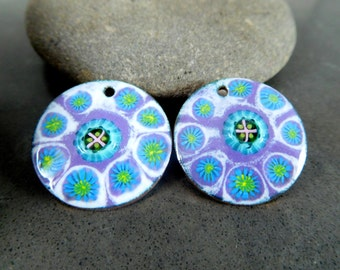 Enamel Earring Charms, Purple Blue Green White Enameled Copper Earring Pair, Murinni Flowers, Sgraffito, Boho Chic, 25 mm Circle Pendants