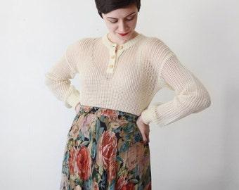 SUMMER SALE Fishnet Sweater / 70s Cream Sweater / 1970s Net Sweater - M
