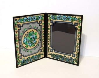 Vintage Painted Glass Folding Picture Frame Flowers