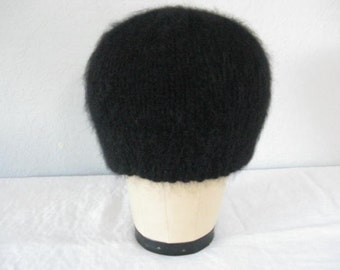 Black Angora Beanie. Angora, Lambs Wool, Extrafine Merino Wool and Cashmere. Luxe Fall and Winter Accessories.