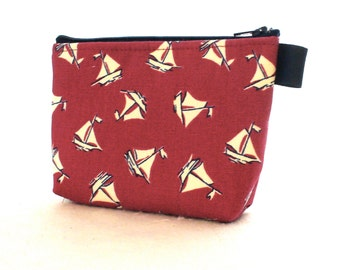 Nautical Sailboats Navy Blue Red White Fabric Gadget Pouch Cosmetic Bag Zipper Pouch Makeup Bag Cotton Zip Pouch MTO