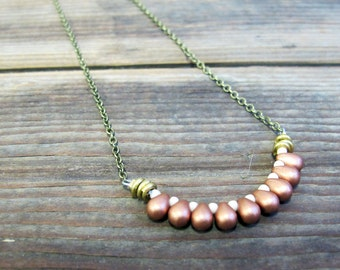 SALE - Egyptian - Rose Gold Color Teardrop Earring and Necklace Set - Artisan Tangleweeds Jewelry