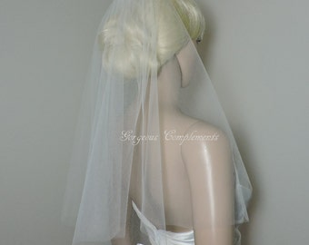 Short Little Sheer Veil - Blusher Wedding Veil, Bridal Veil CE20X50