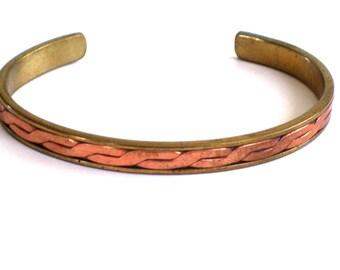 Mixed Metals Cuff Bracelet, Vintage Copper Brass Plated Cuff Bracelet, Twist Braid Cuff, Vintage Cuff Bracelet
