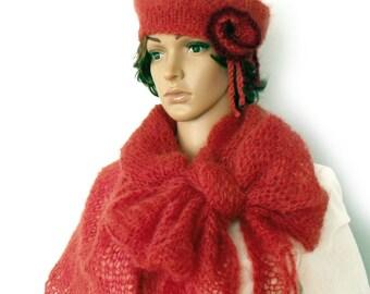 SALE Scarf hat set, Shawl hat set, Mohair shawl, Boho shawl, Wool cape, Knit scarf beret, Triangle shawl, Scarf and beret, Mohair shawl