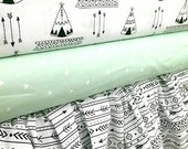Teepees and Arrows   Baby  bedding  includes bumper set , fitted sheet, and crib skirt -  click to see more pics