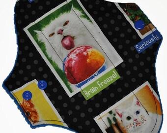 Light Core- Cat Portraits Reusable Cloth Pantyliner Pad- WindPro Fleece- 8.5 Inches