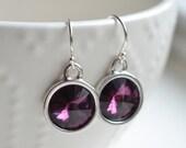 Bridesmaid Jewelry Amethyst Crystal Earrings