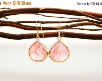 Bridesmaid Jewelry Set of 5 Coral Pink Large Teardrop Earrings in Gold