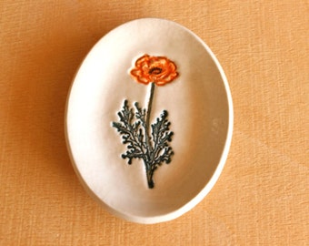 Ceramic Golden POPPY Ring Dish - Handmade Small Oval Porcelain Flower Ring Dish - Ready To Ship