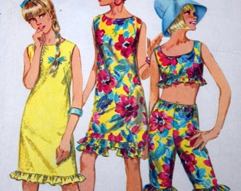 Simplicity 6572 Teens Juniors Sewing Pattern, Size 14T Bust 34, 1960s Sewing Pattern, Dress Top and Knee Length Pants