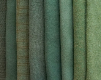 Khaki - Sage - Vine Green Hand Dyed and Felted Wool - Rug Hooking, Quilting, Applique and Crafts - Primitive Rug Hooking Sage Green