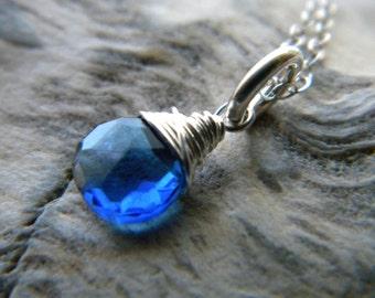 Bright sterling silver dark sapphire blue quartz briolette necklace - handmade wire wrapped jewelry