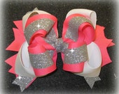 Boutique Hair Bow, Large 6 Inch Bow, Glitter Bows, Neon Bow, Triple Layered Bow, Texas Size Hair Bow, Pageant Bow, Large Bow, Glitzy Glow gl