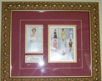 ON SALE Princess Diana, Princess, Royalty, Diana, Artwork, Stamps, Collectibles, Wall Decor, Home Decor, Custom Framing, Burgandy, Gold, Gol