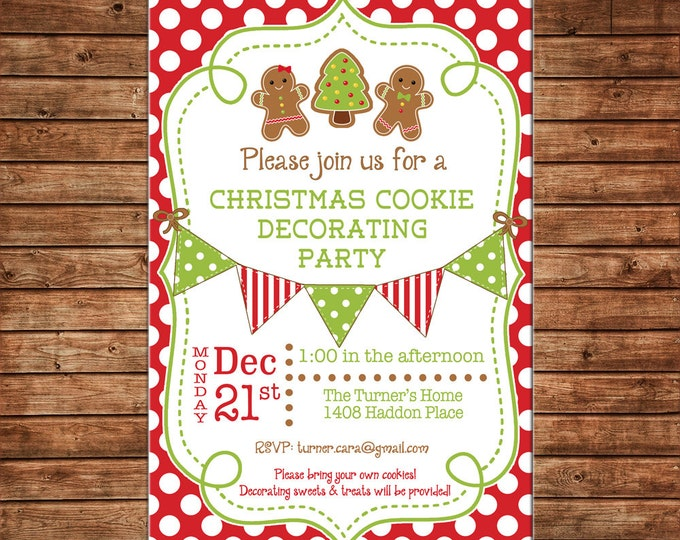 Holiday Christmas Gingerbread Cookie Decorating Decorate Cookie Swap Gingham Check Bunting Banner Invitation - DIGITAL FILE