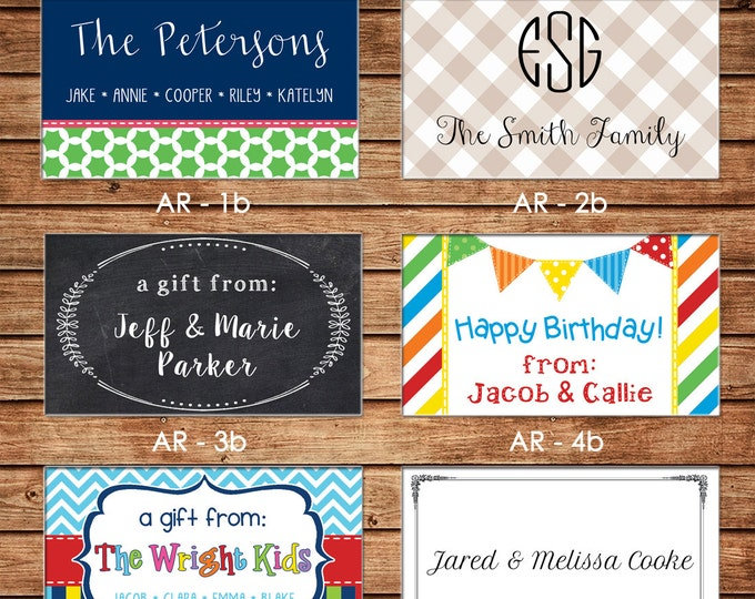New Designs - 20 Rectangle Personalized All Occasion / Family / Mommy / Sibling / Adult Enclosure Cards or Gift Stickers - Choose ONE DESIGN