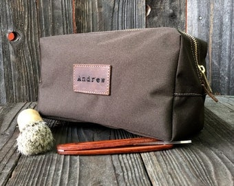 Monogrammed Canvas Toiletry Bags - Wedding Gifts - Brown / Brown
