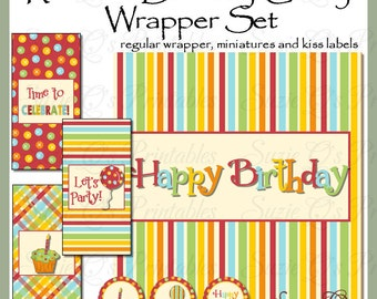 Rainbow Birthday Candy Bar Wrapper Set includes regular wrapper, miniature wrappers and kiss labels - Digital Printable - Immediate Download