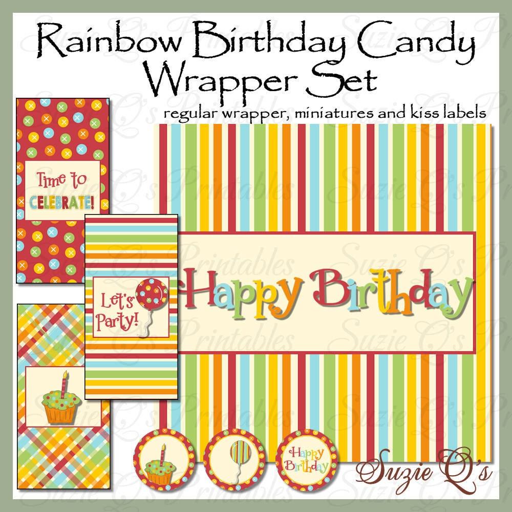 rainbow birthday candy bar wrapper set includes regular. Black Bedroom Furniture Sets. Home Design Ideas