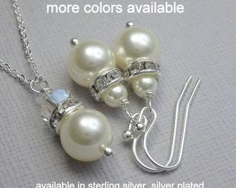 Set of 5 Custom Bridesmaid Gift, Ivory Pearl Jewelry Set, Wedding Jewelry Set, Bridesmaids' Gift Jewelry Set, Will You Be My Bridesmaid