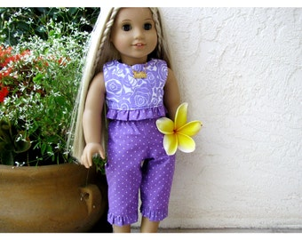 Summer Set for Julie, 18 Inch American Girl Doll, Historical 70's Doll Clothes