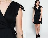 Black Mini Dress 70s WRAP High Waisted Grecian Party Deep V Neck 80s Plain Boho 1970s Vintage Bohemian Sleeveless Jersey Small Medium Large