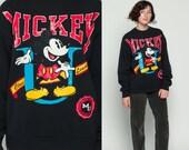 Mickey Mouse Sweatshirt MICKEY UNIVERSITY Disney Sweater 80s Grunge Shirt Cartoon Graphic 1980s Vintage Hipster Black Large