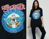 AEROSMITH Shirt 90s Aero Force One Tour Rock Band Tshirt Concert T Shirt Black 1990s Tee Vintage 1990 Rock Steven Tyler Extra Large xl