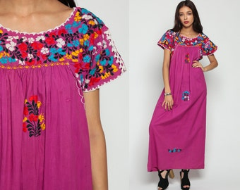 Oaxacan Dress 70s MEXICAN Embroidered Maxi Hippie Purple 1970s Boho Wedding Vintage Ethnic Bohemian Traditional Small Medium Large