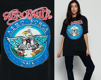 AEROSMITH Shirt 90s Aero Force One Tour Rock Band Tshirt Concert T Shirt Black 1990s Tee Vintage 1990 Rock Steven Tyler Extra Large xl