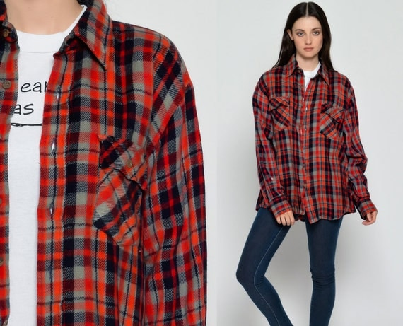 Flannel Shirt 80s Red Plaid Shirt Oversized Checkered Navy