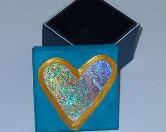 Handpainted Small Canvas Keepsake Box Valentine or Nursery Decor Shiny Heart on Lid