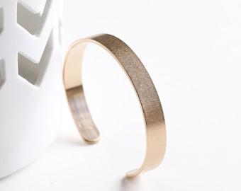 "Modern, minimalist and striking thick SOLID 14K yellow gold cuff bracelet, a definite statement piece of jewelry - ""Gold Sabine Cuff"""