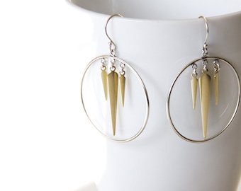 """Lightweight mixed metal earrings, modern design with brass and sterling silver, lightly oxidized for contrast - """"Thorn Earrings"""""""