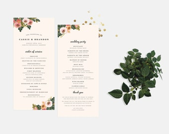 The Summer Wedding Ceremony Programs - Printed or Printable